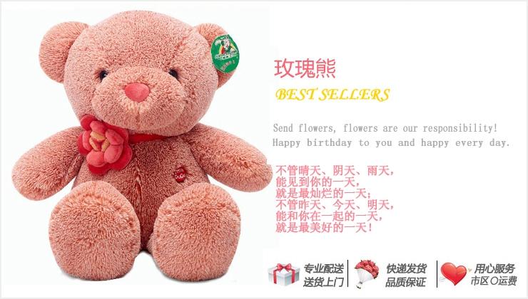 玫瑰熊—快送鲜花网 情人节礼物 订购礼品 网上买礼物 七夕个性礼品推荐