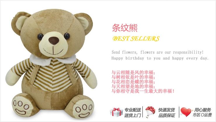 条纹熊—快送鲜花网|毛绒玩具|个性礼品|送女友礼物|情人节礼物推荐